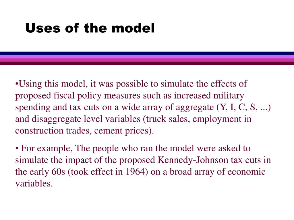 Uses of the model