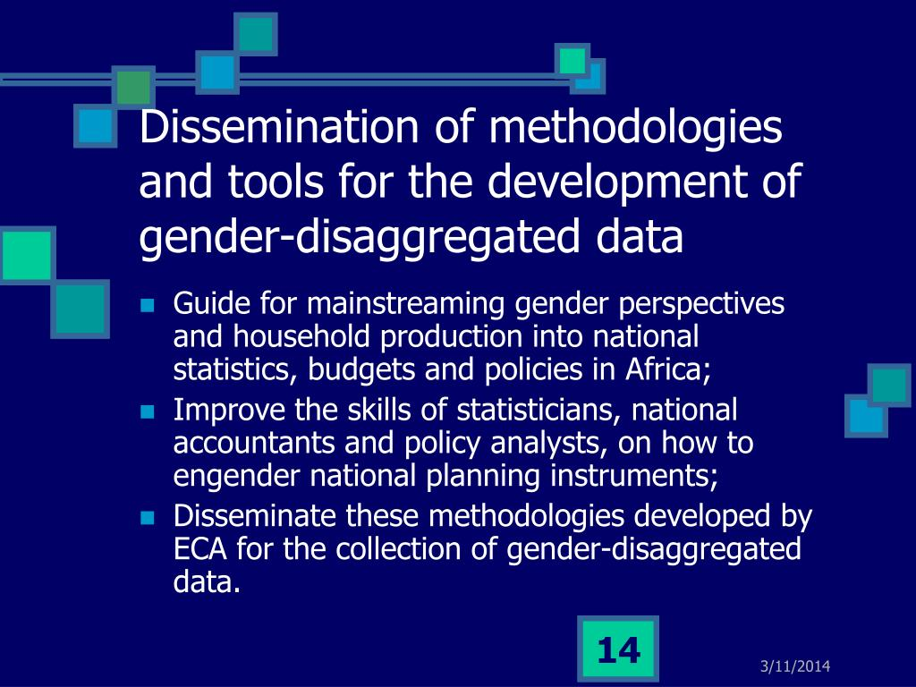 Dissemination of methodologies and tools for the development of gender-disaggregated data