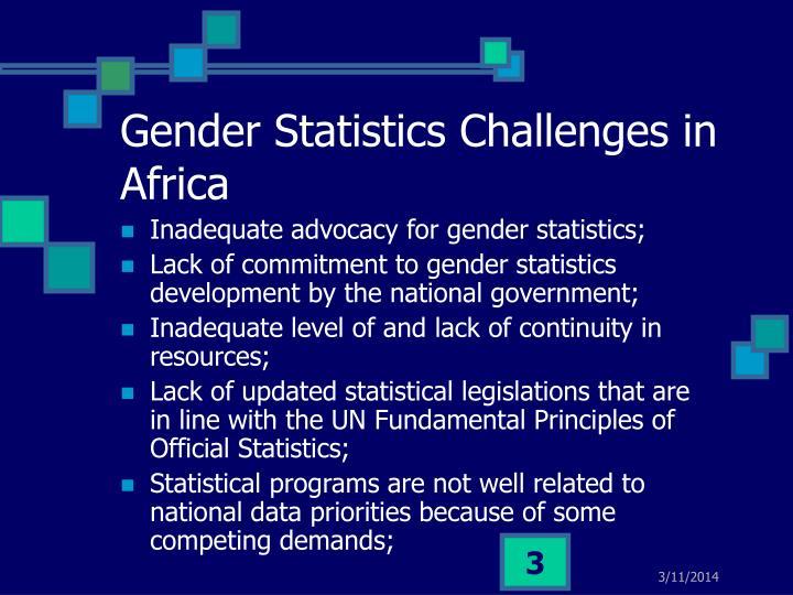 Gender statistics challenges in africa