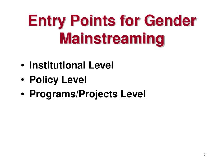 Entry points for gender mainstreaming