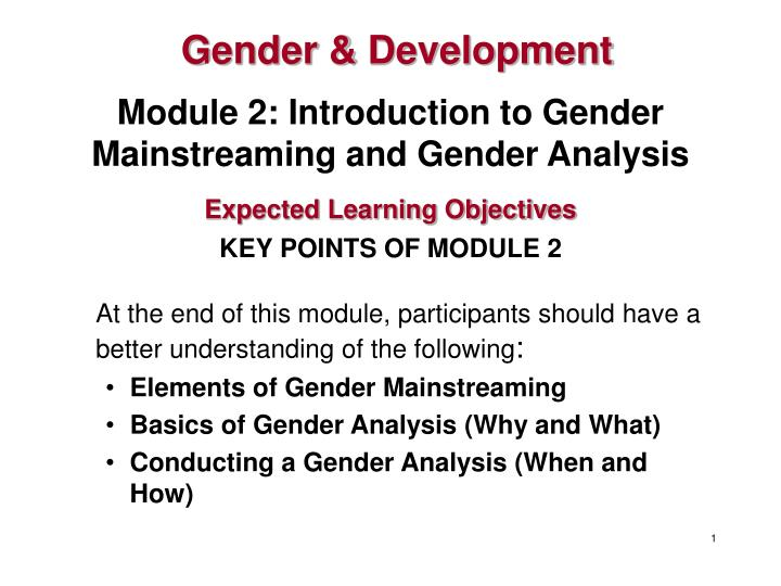 Module 2 introduction to gender mainstreaming and gender analysis