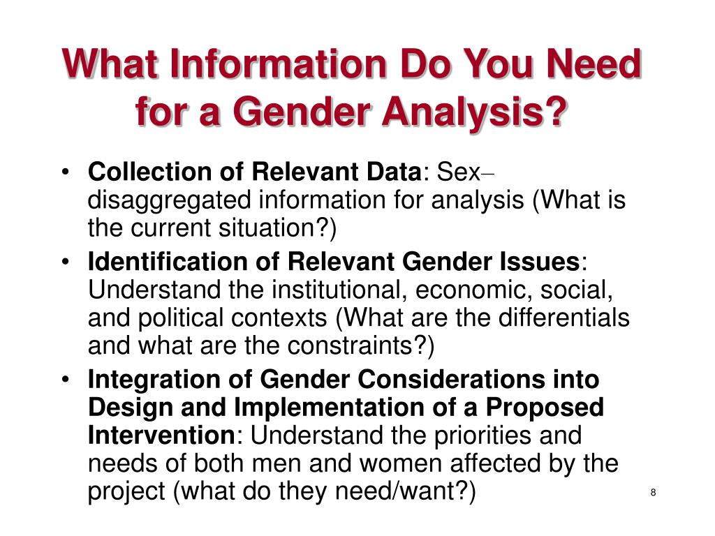 What Information Do You Need for a Gender Analysis?