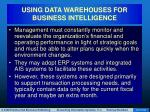using data warehouses for business intelligence