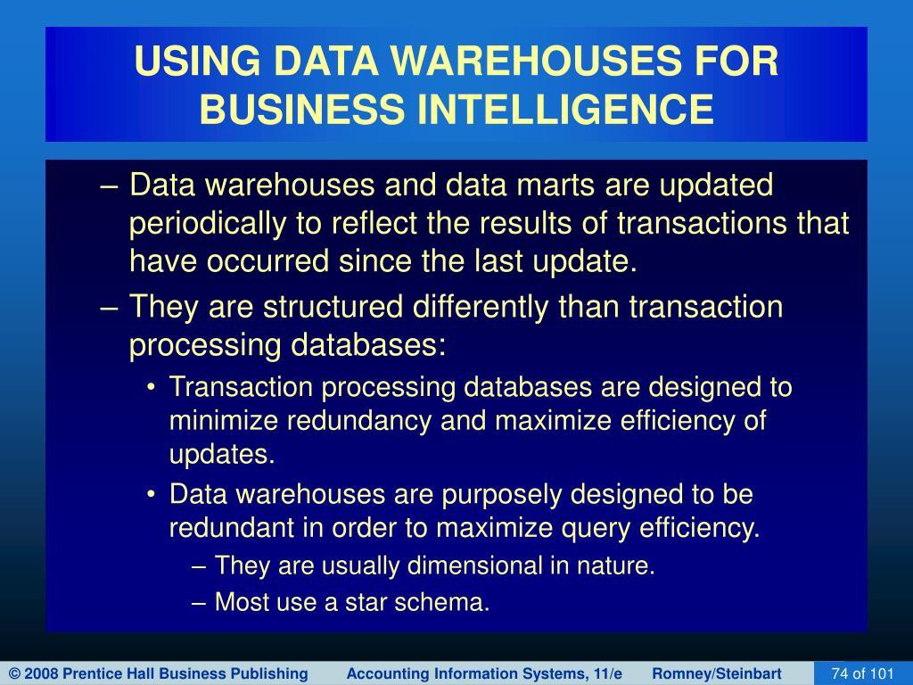 USING DATA WAREHOUSES FOR BUSINESS INTELLIGENCE