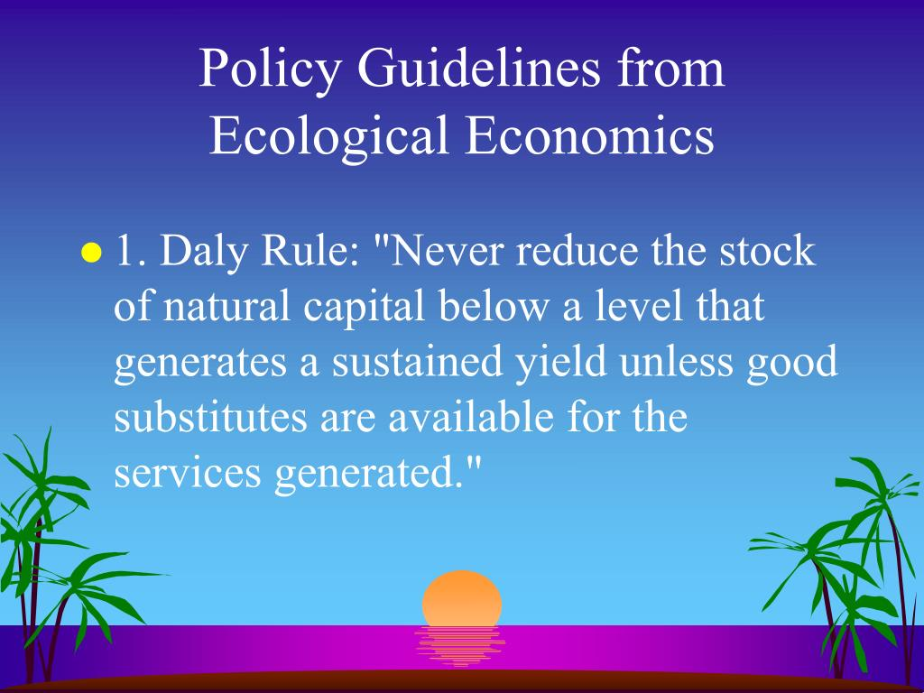 Policy Guidelines from Ecological Economics