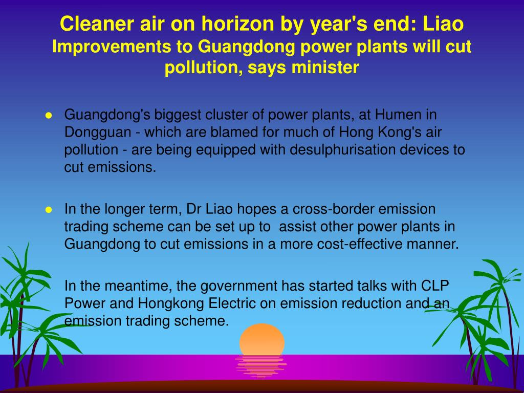 Cleaner air on horizon by year's end: Liao