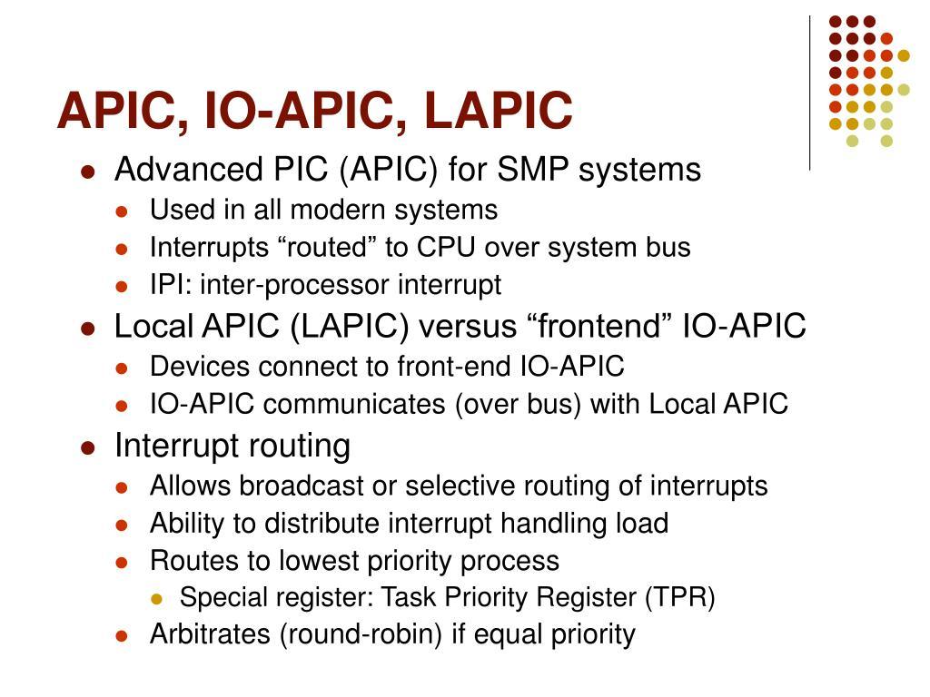 APIC, IO-APIC, LAPIC