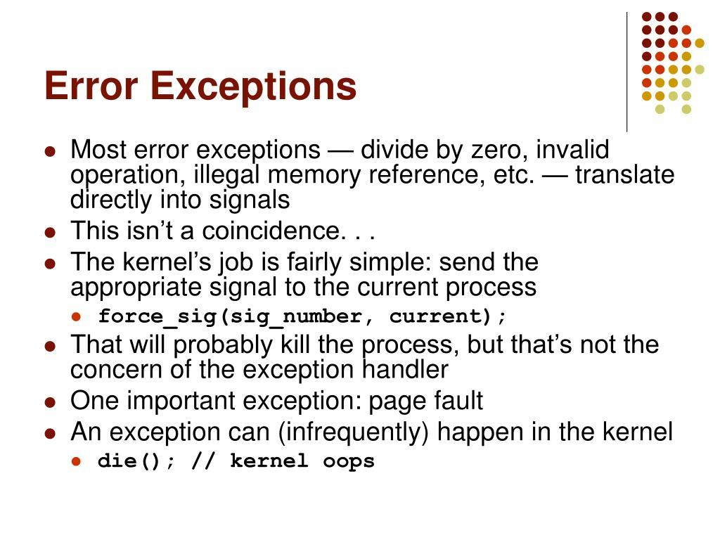 Error Exceptions
