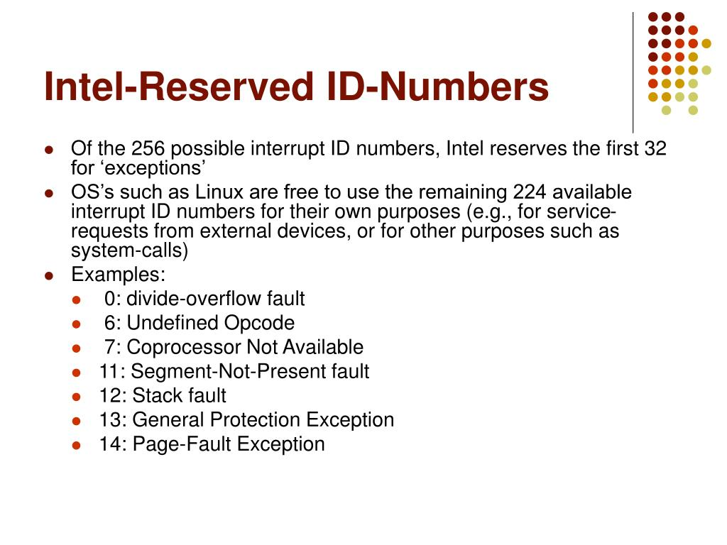 Intel-Reserved ID-Numbers