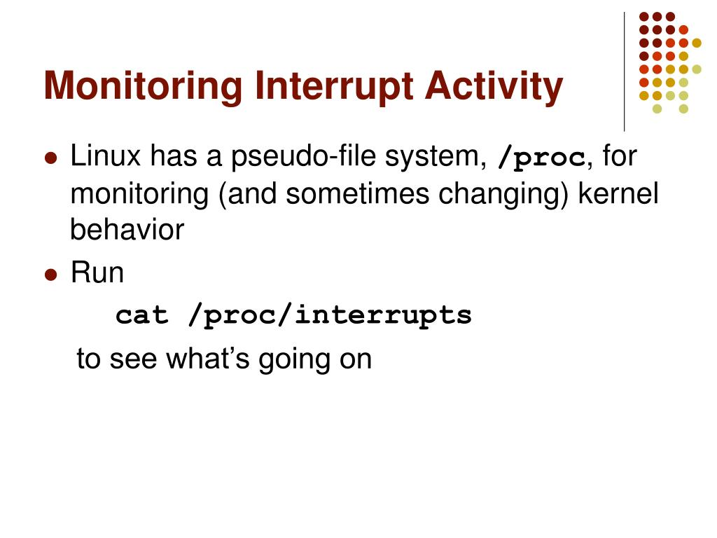 Monitoring Interrupt Activity