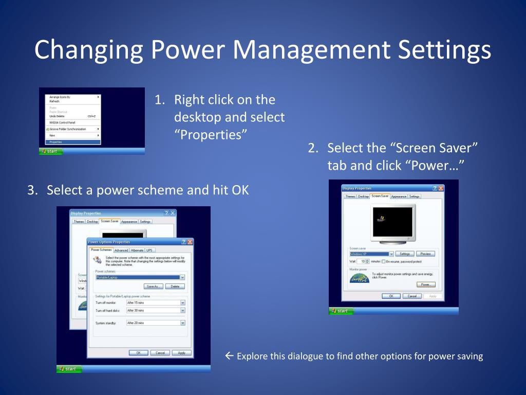 Changing Power Management Settings