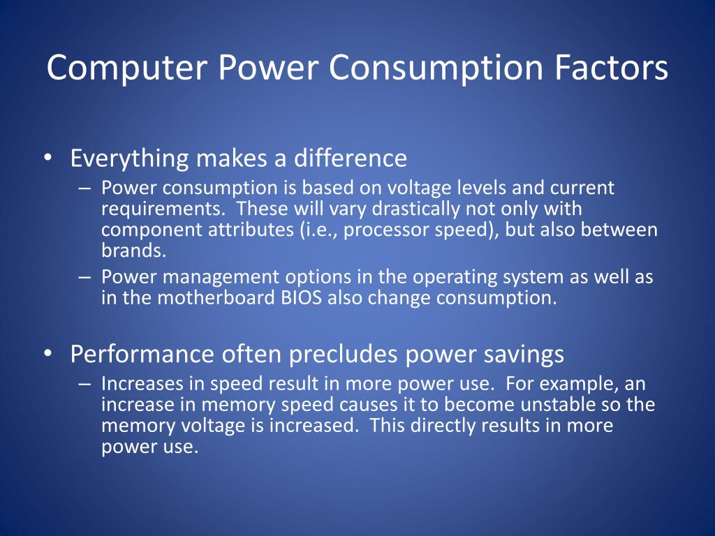 Computer Power Consumption Factors