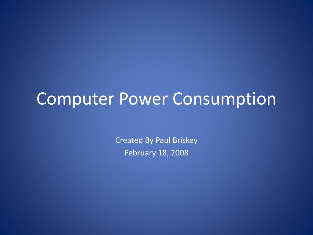 Computer Power Consumption