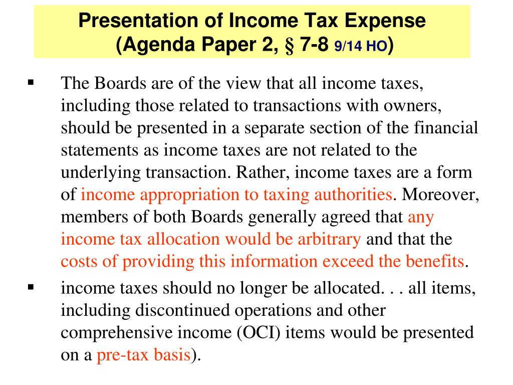 Presentation of Income Tax Expense