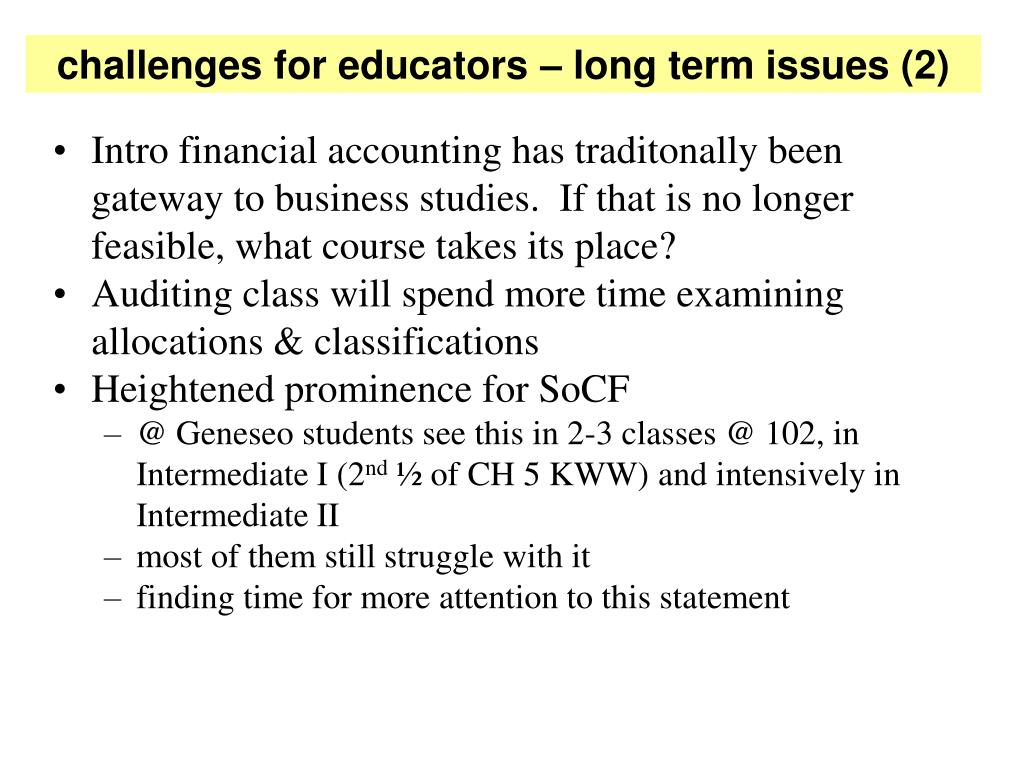challenges for educators – long term issues (2)