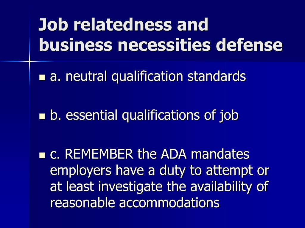 Job relatedness and business necessities defense