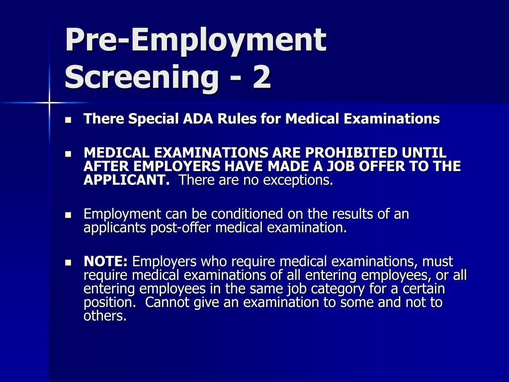 Pre-Employment Screening - 2