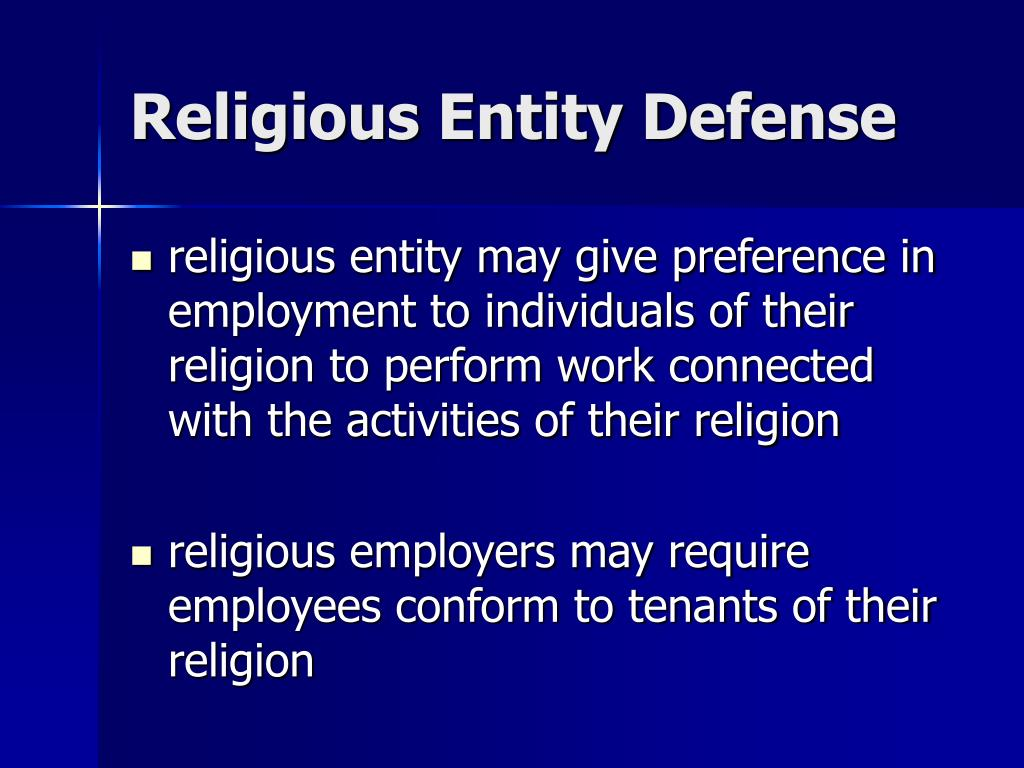 Religious Entity Defense