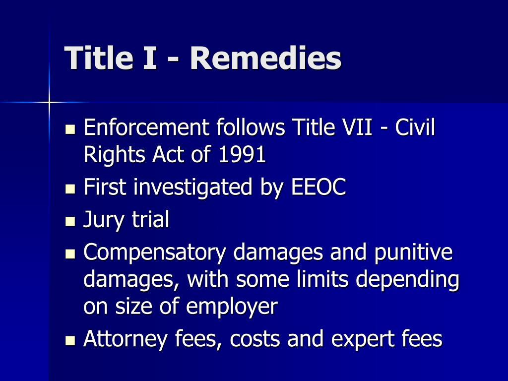 Title I - Remedies