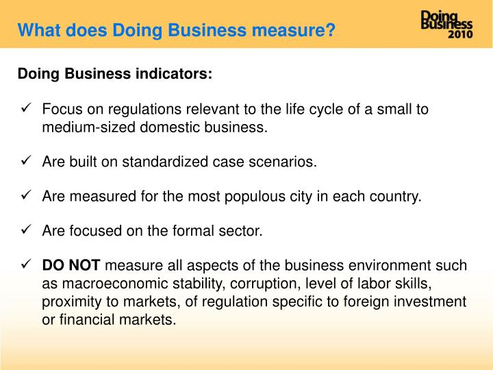 What does Doing Business measure?