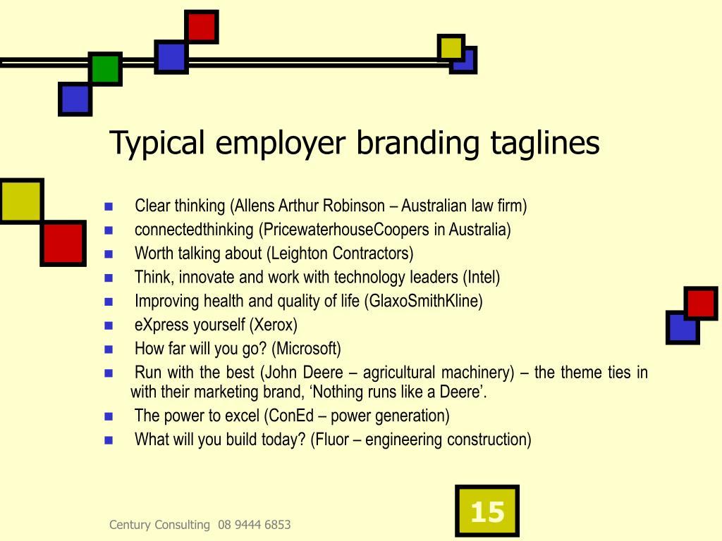 Typical employer branding taglines