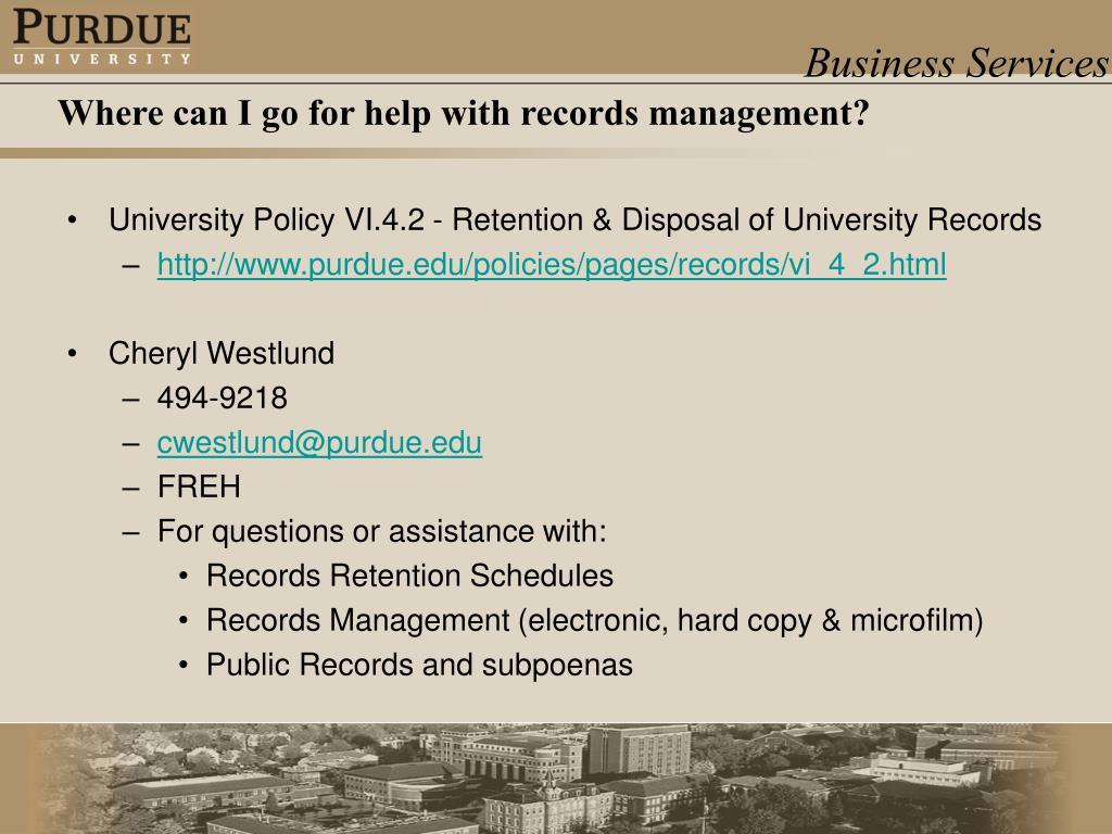 University Policy VI.4.2 - Retention & Disposal of University Records