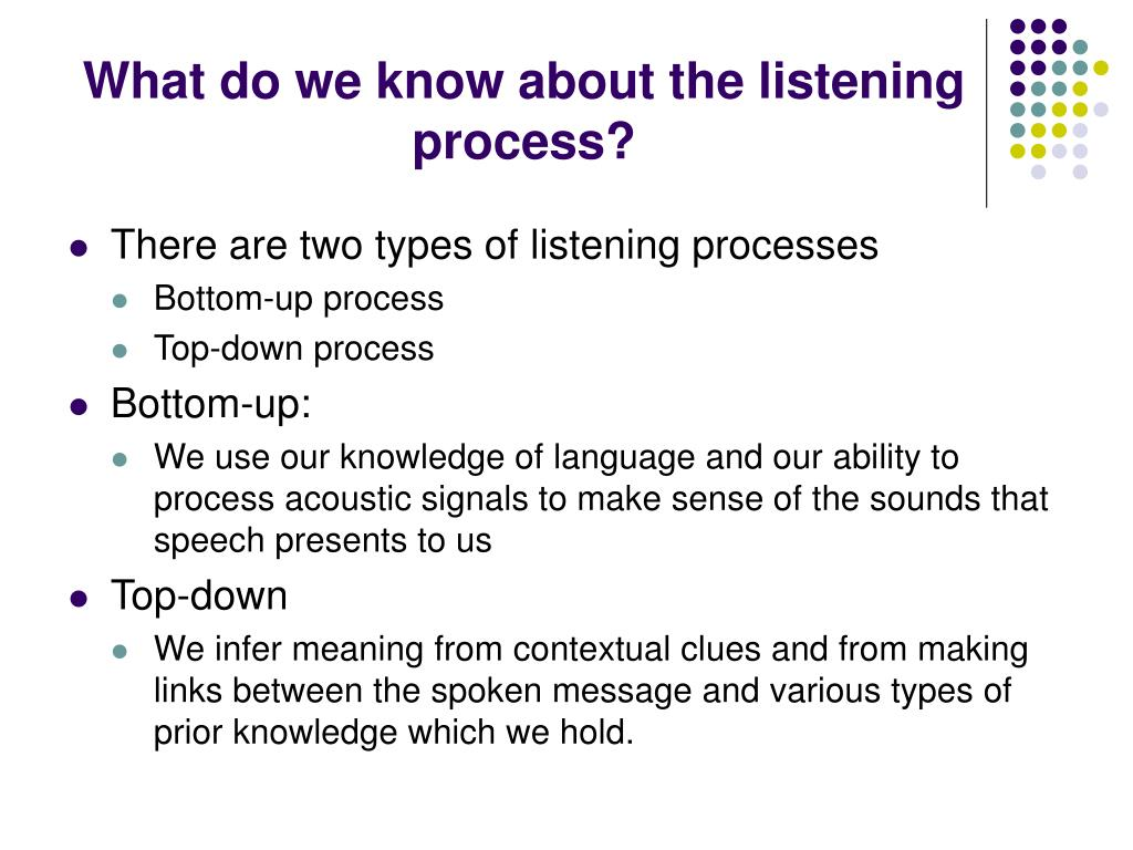 What do we know about the listening process?