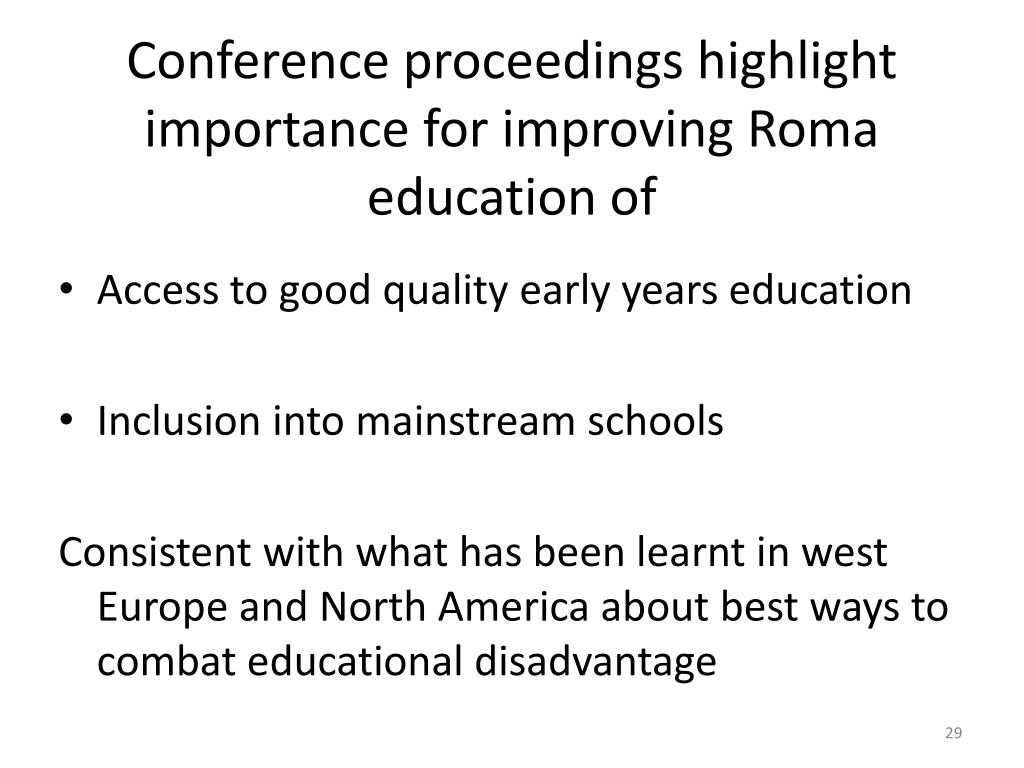 Conference proceedings highlight importance for improving Roma education of