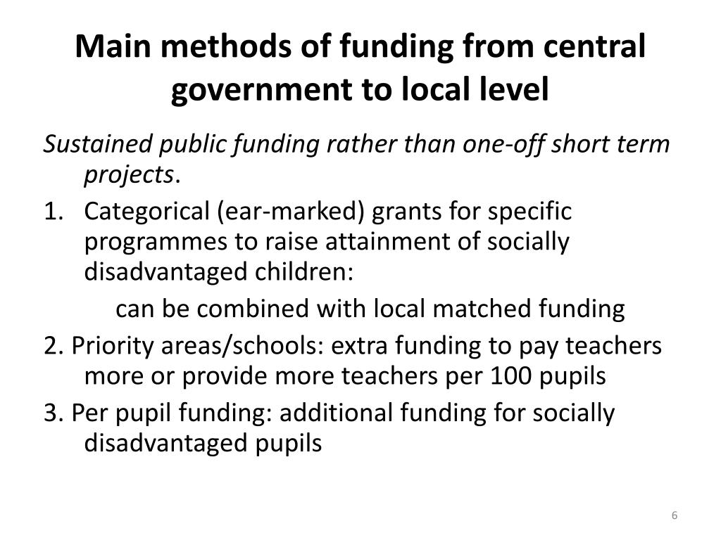 Main methods of funding from central government to local level
