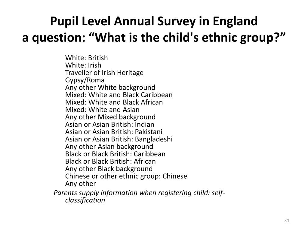 Pupil Level Annual Survey in England
