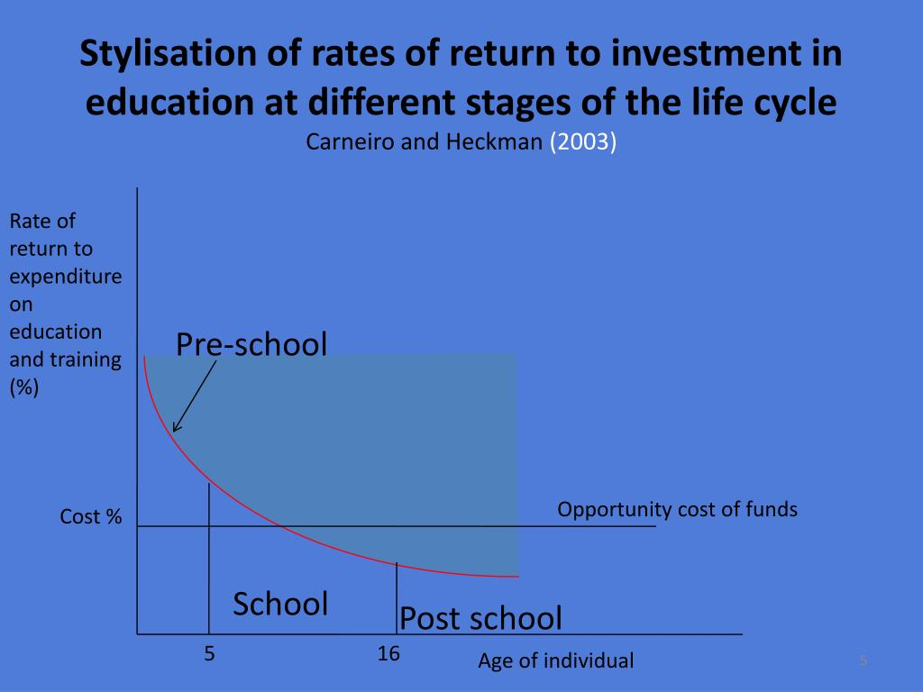 Stylisation of rates of return to investment in education at different stages of the life cycle