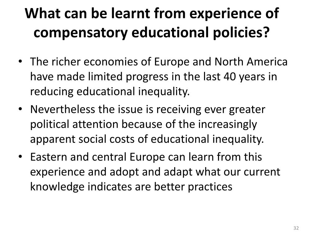 What can be learnt from experience of compensatory educational policies?