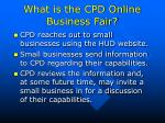 what is the cpd online business fair