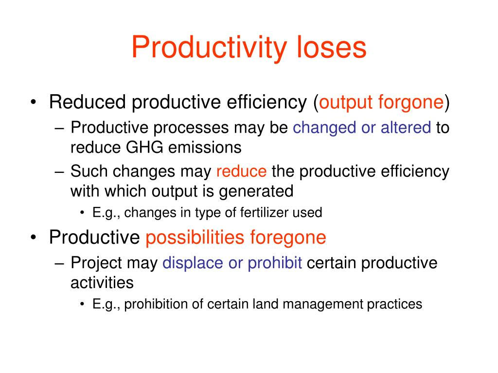 Productivity loses