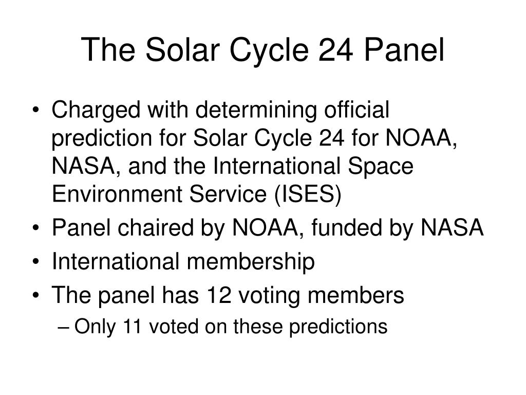 The Solar Cycle 24 Panel