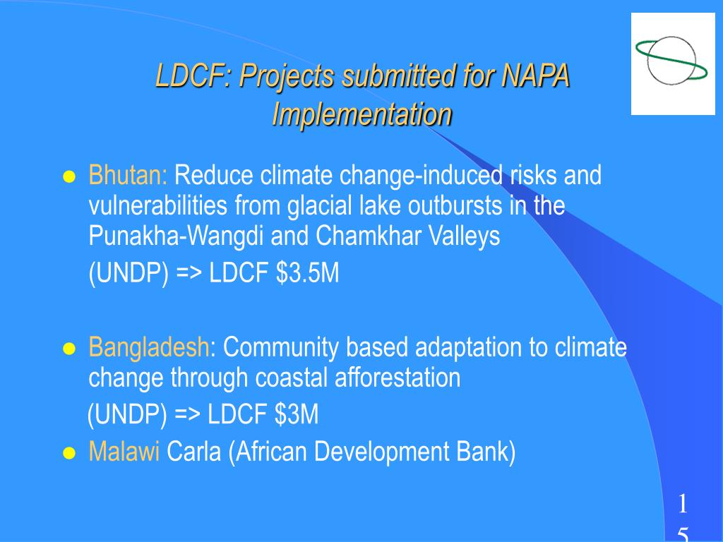 LDCF: Projects submitted for NAPA Implementation
