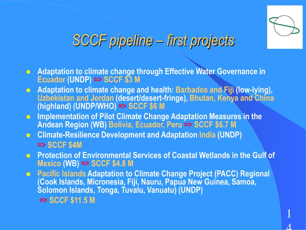 SCCF pipeline – first projects