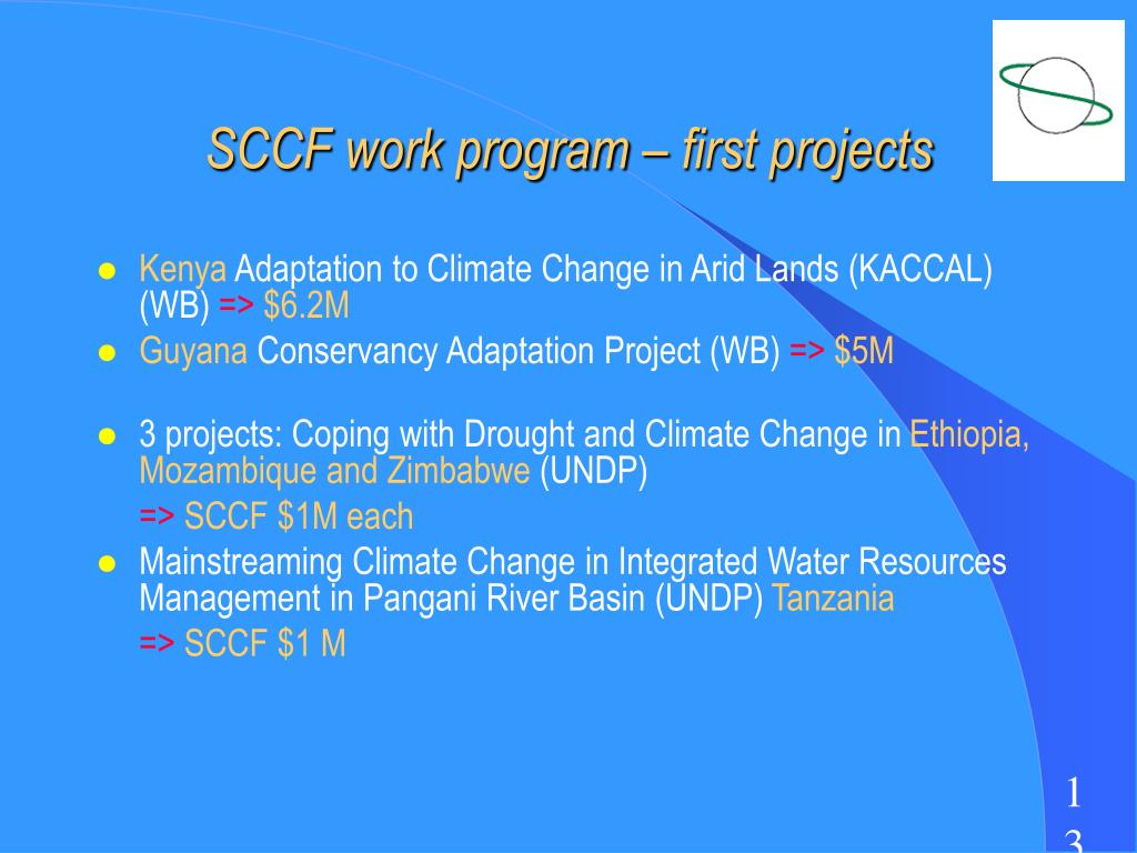 SCCF work program – first projects