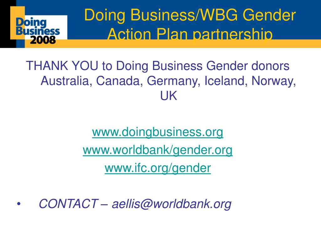 Doing Business/WBG Gender Action Plan partnership