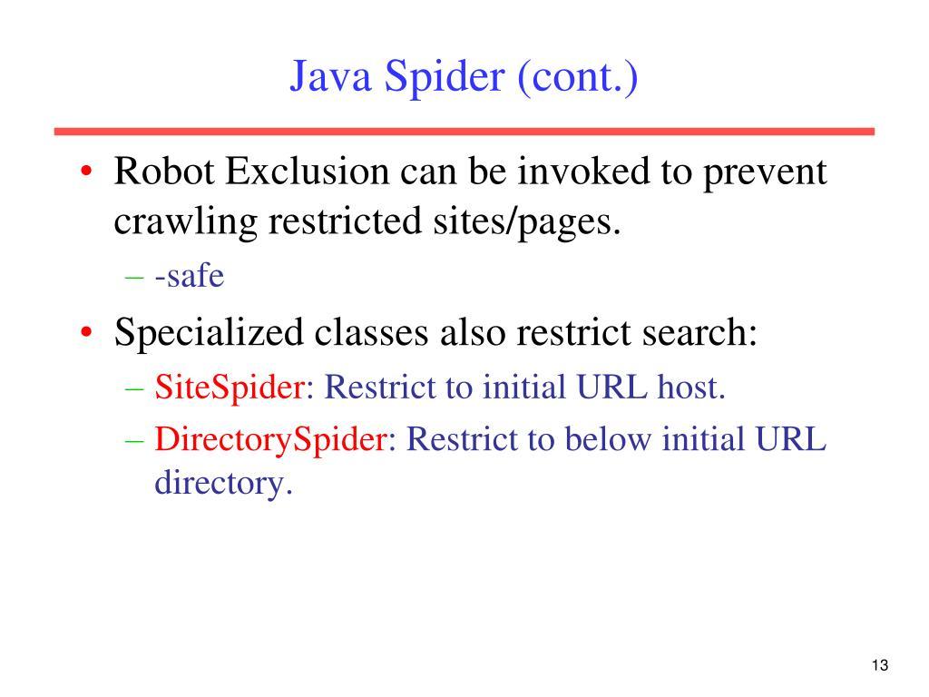 Java Spider (cont.)