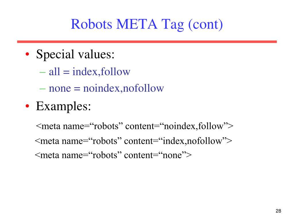Robots META Tag (cont)