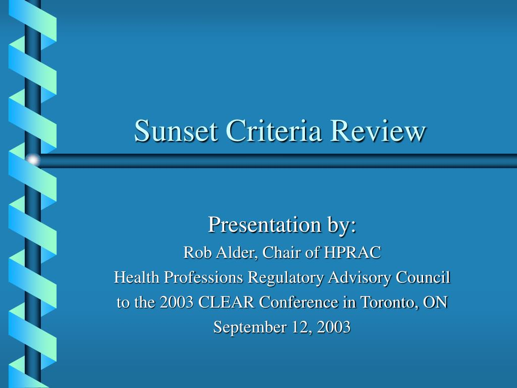 sunset criteria review l.