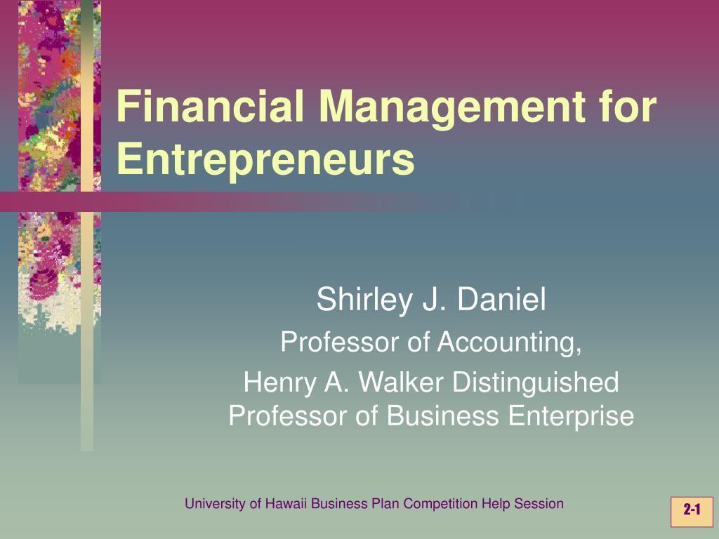 financial management for entrepreneurs l.