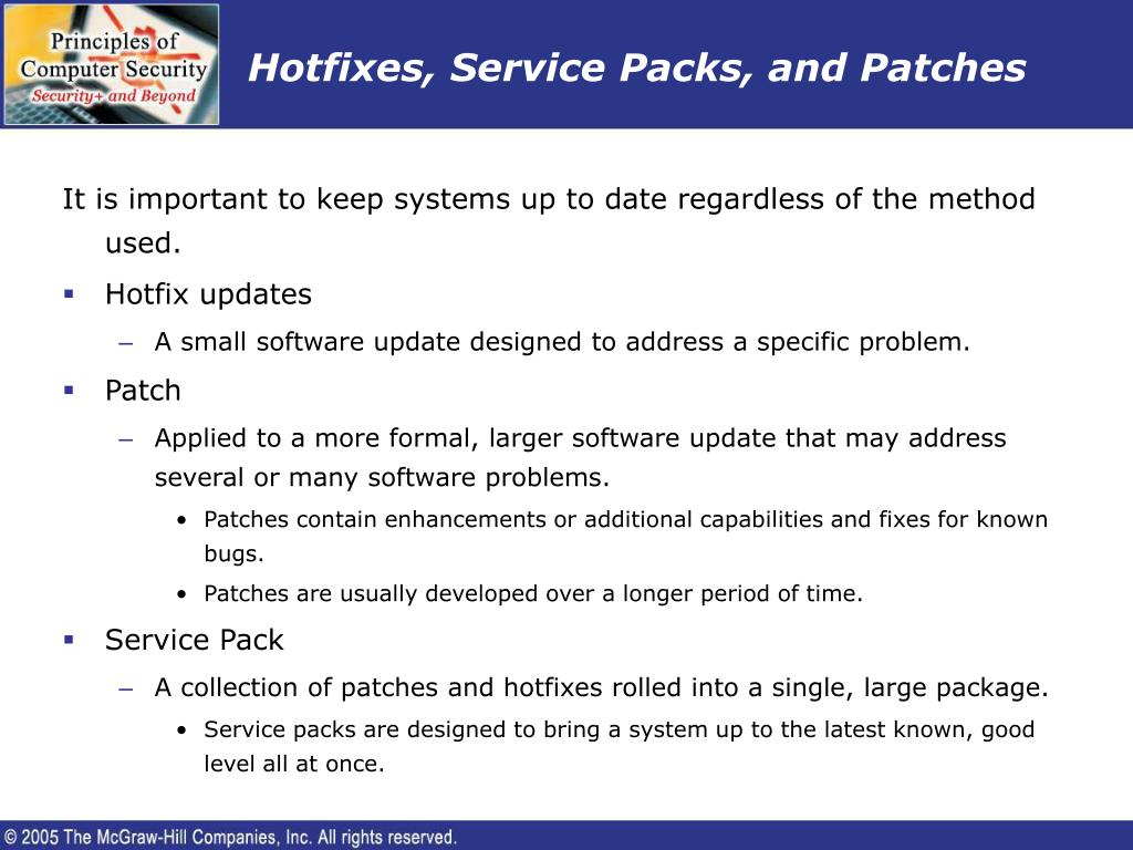 Hotfixes, Service Packs, and Patches