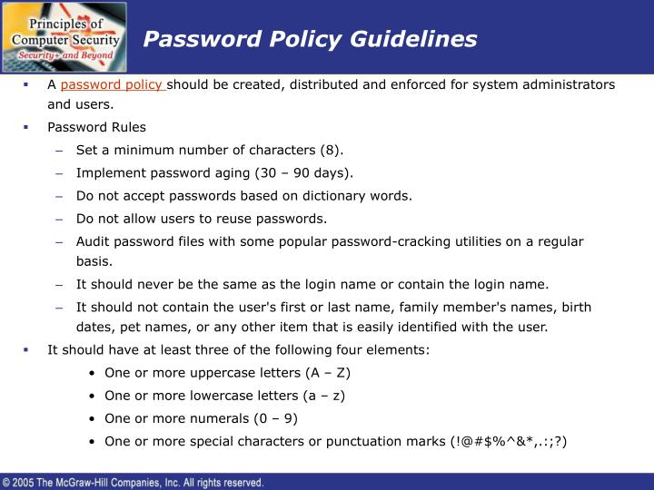 Password policy guidelines