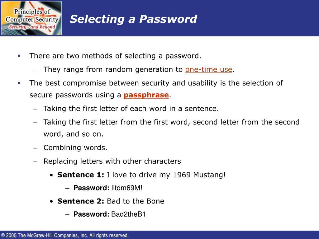 Selecting a Password