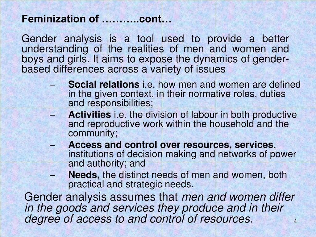 Feminization of ………..cont…