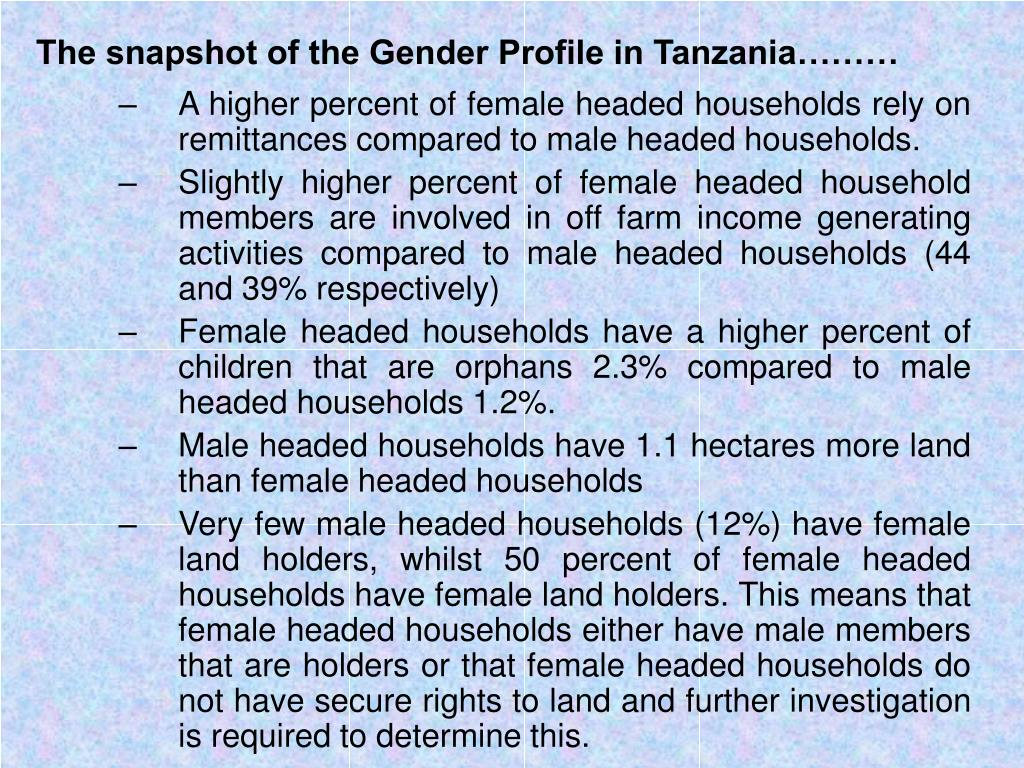 The snapshot of the Gender Profile in Tanzania………