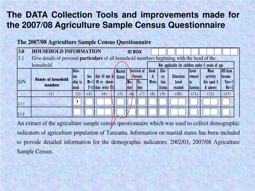The DATA Collection Tools and improvements made for the 2007/08 Agriculture Sample Census Questionnaire
