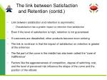 the link between satisfaction and retention contd